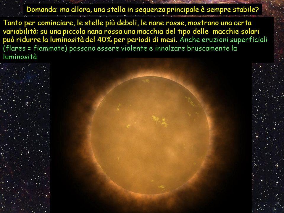 Domanda: ma allora, una stella in sequenza principale è sempre stabile? Tanto per cominciare, le stelle più deboli, le nane rosse, mostrano una certa