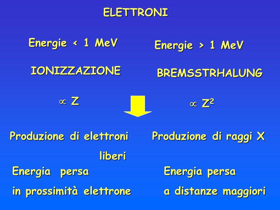 BREMSSTRHALUNG IONIZZAZIONE Produzione di raggi X Energie < 1 MeV Energie > 1 MeV Z ZELETTRONI Energia persa in prossimità elettrone Energia persa a d