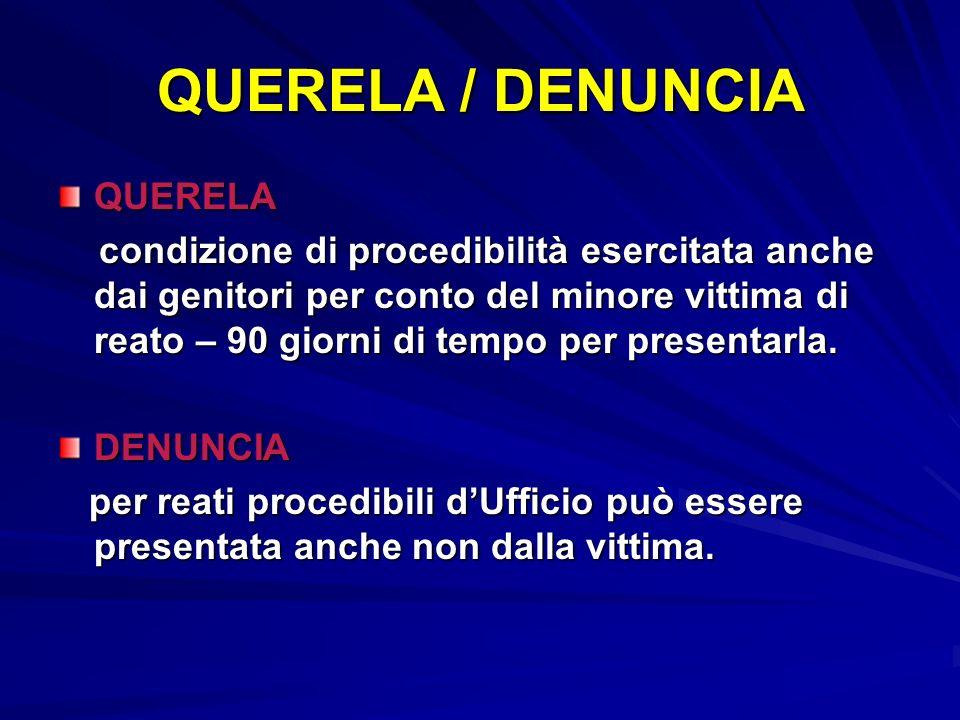 QUERELA / DENUNCIA QUERELA condizione di procedibilità esercitata anche dai genitori per conto del minore vittima di reato – 90 giorni di tempo per pr