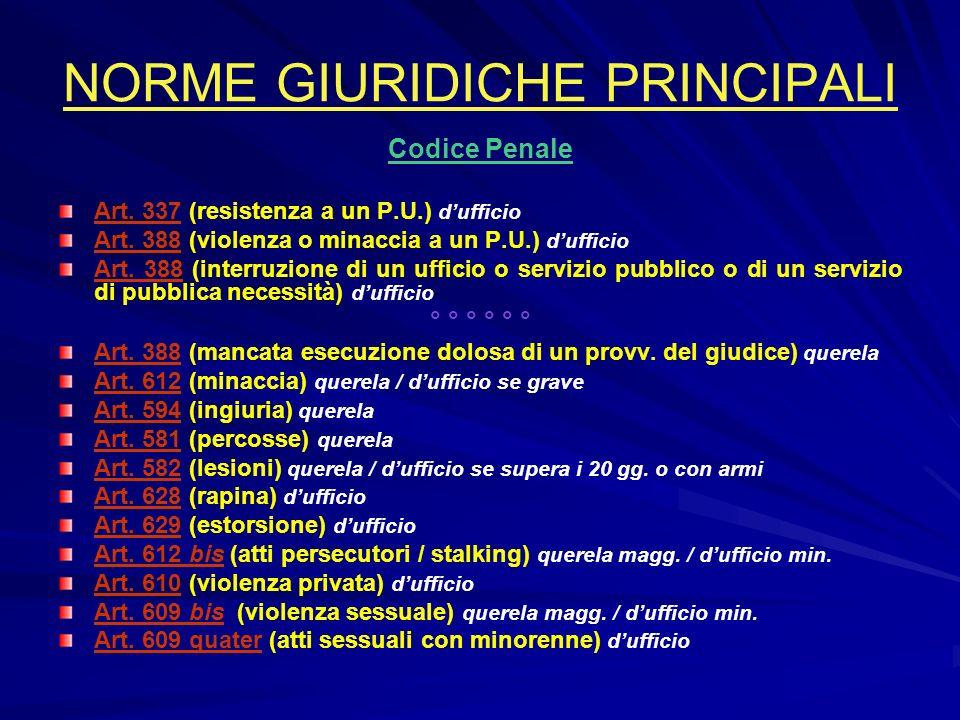 NORME GIURIDICHE PRINCIPALI Codice Penale Art. 337 (resistenza a un P.U.) dufficio Art. 388 (violenza o minaccia a un P.U.) dufficio Art. 388 (interru