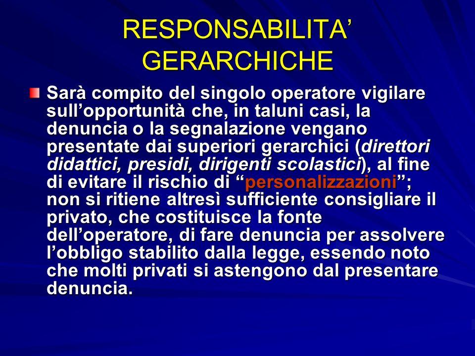 RESPONSABILITA GERARCHICHE Sarà compito del singolo operatore vigilare sullopportunità che, in taluni casi, la denuncia o la segnalazione vengano pres