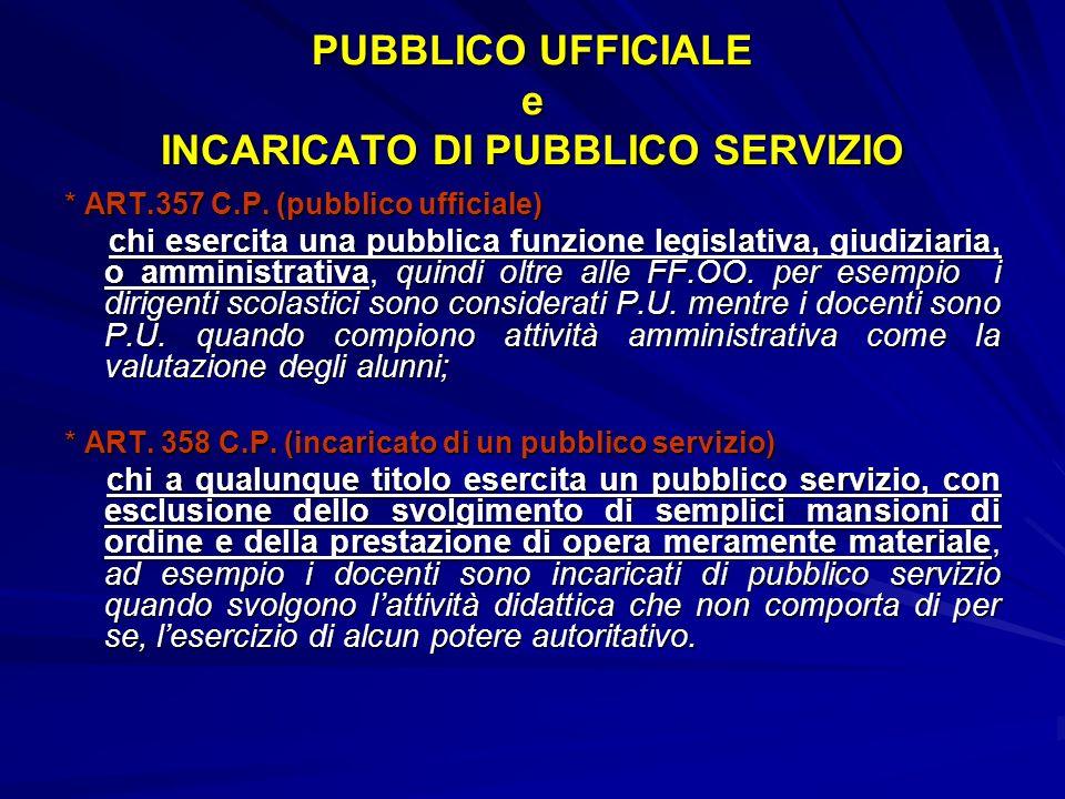 PUBBLICO UFFICIALE e INCARICATO DI PUBBLICO SERVIZIO * ART.357 C.P. (pubblico ufficiale) chi esercita una pubblica funzione legislativa, giudiziaria,