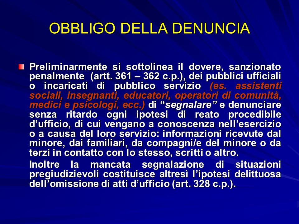 OBBLIGO DELLA DENUNCIA Preliminarmente si sottolinea il dovere, sanzionato penalmente (artt. 361 – 362 c.p.), dei pubblici ufficiali o incaricati di p