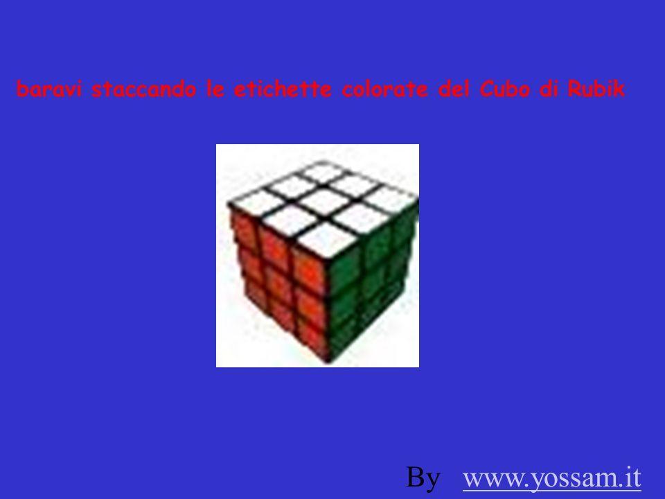 baravi staccando le etichette colorate del Cubo di Rubik By www.yossam.itwww.yossam.it