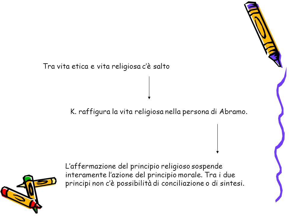 Tra vita etica e vita religiosa cè salto K. raffigura la vita religiosa nella persona di Abramo. Laffermazione del principio religioso sospende intera