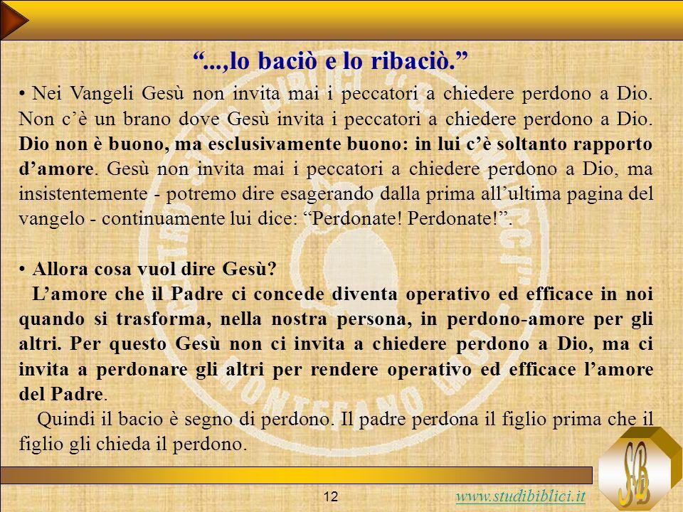www.studibiblici.it 12 Nei Vangeli Gesù non invita mai i peccatori a chiedere perdono a Dio. Non cè un brano dove Gesù invita i peccatori a chiedere p
