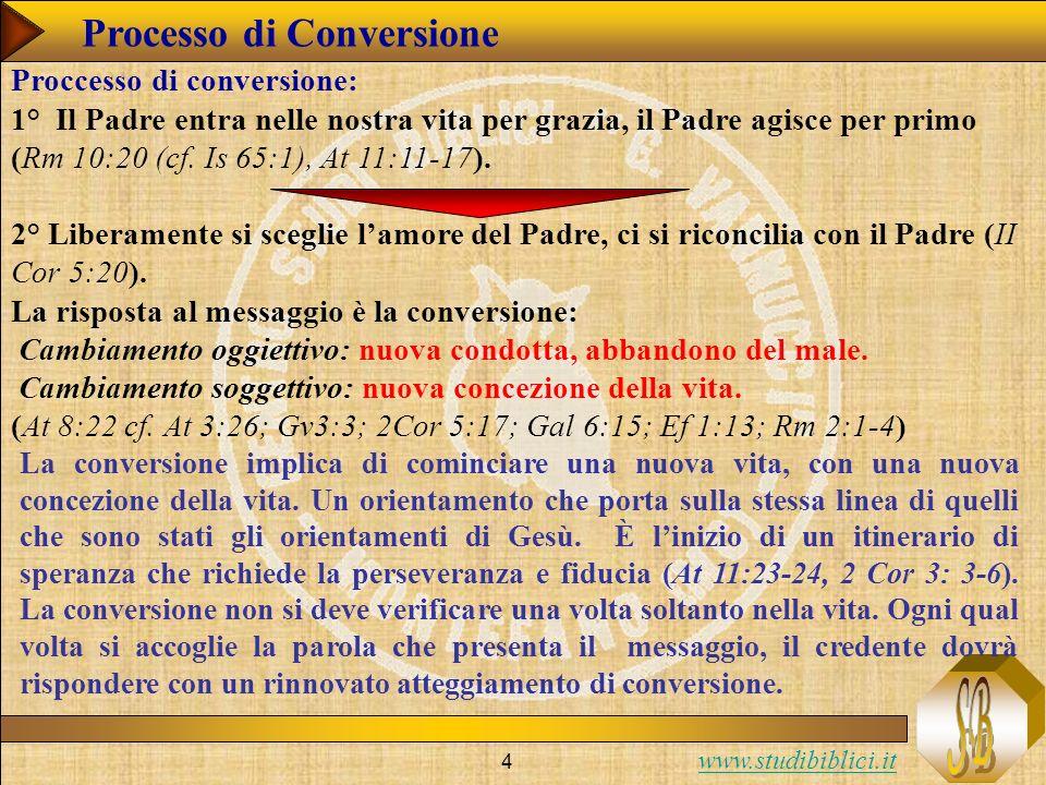 www.studibiblici.it 4 Processo di Conversione Proccesso di conversione: 1° Il Padre entra nelle nostra vita per grazia, il Padre agisce per primo (Rm
