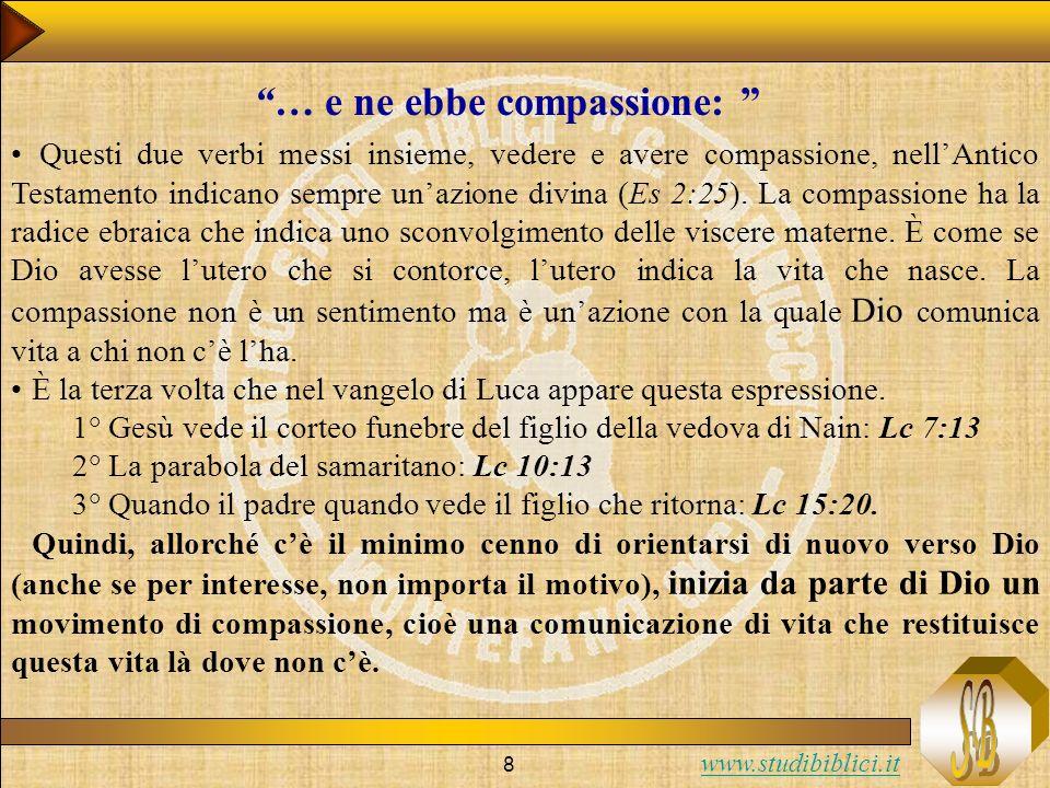 www.studibiblici.it 8 Questi due verbi messi insieme, vedere e avere compassione, nellAntico Testamento indicano sempre unazione divina (Es 2:25). La