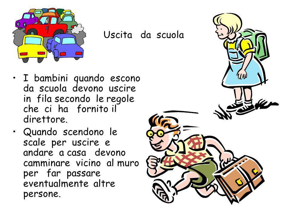 Quando si sale sullo scuolabus non si corre, perché si potrebbe inciampare e cadere non si spinge, non si litiga Si scende dallo scuolabus rispettando