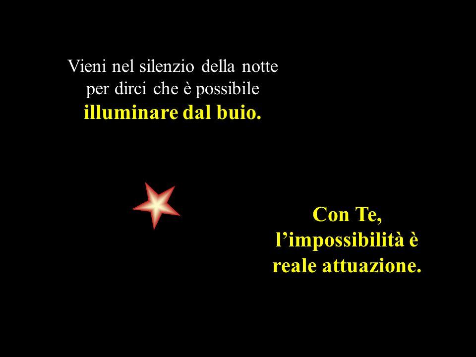 Vieni nel silenzio della notte per dirci che è possibile illuminare dal buio. Con Te, limpossibilità è reale attuazione.