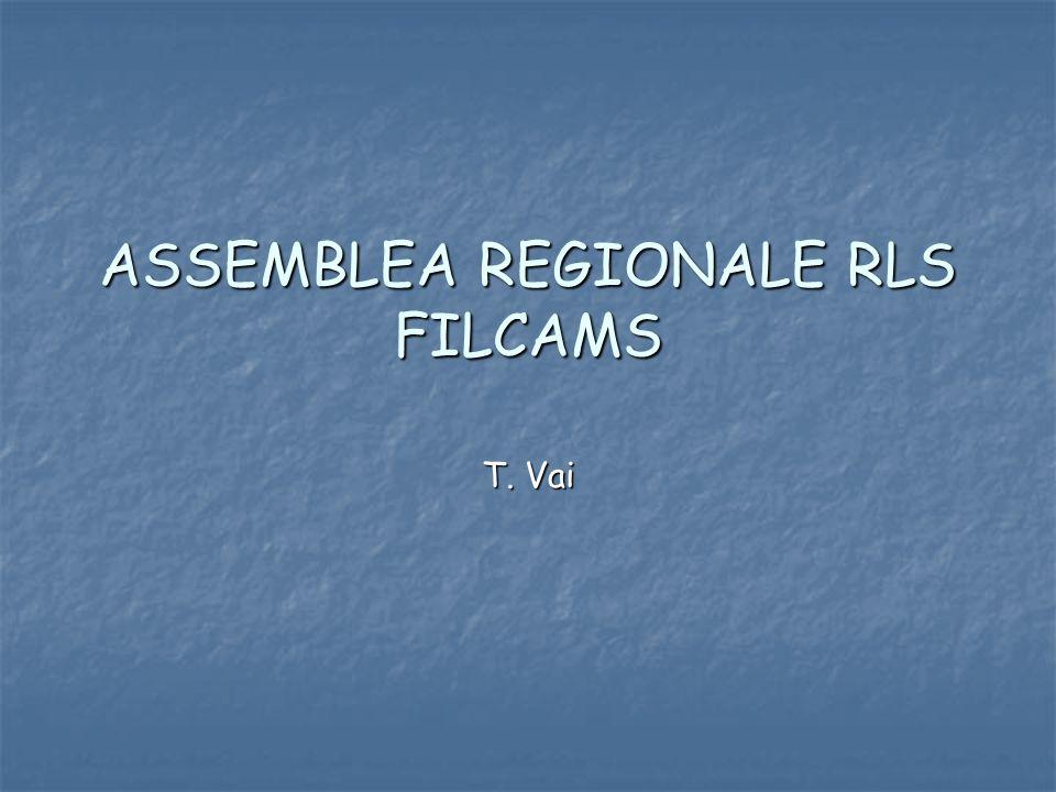 ASSEMBLEA REGIONALE RLS FILCAMS T. Vai