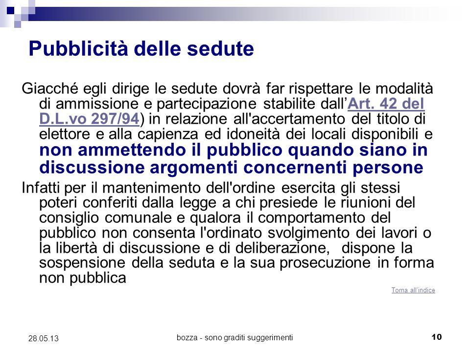 bozza - sono graditi suggerimenti10 28.05.13 Pubblicità delle sedute Giacché egli dirige le sedute dovrà far rispettare le modalità di ammissione e partecipazione stabilite dallArt.