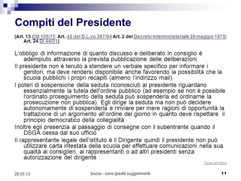 bozza - sono graditi suggerimenti11 28.05.13 Compiti del Presidente (Art.