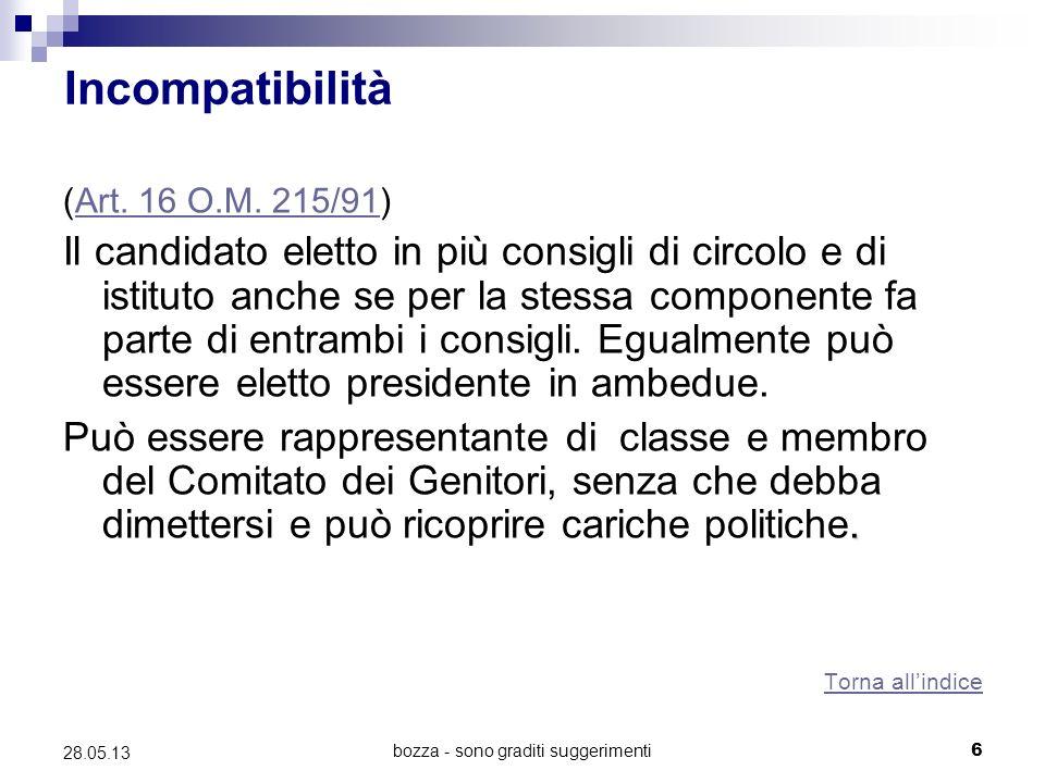 bozza - sono graditi suggerimenti6 28.05.13 Incompatibilità (Art.