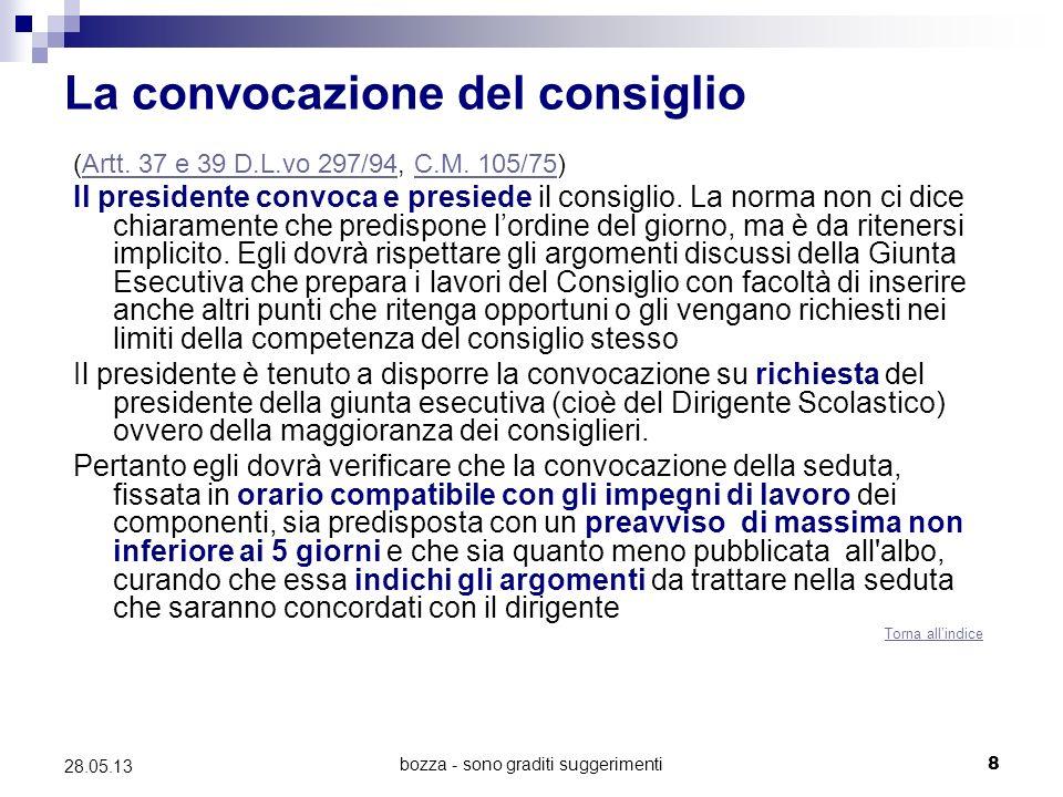 bozza - sono graditi suggerimenti8 28.05.13 La convocazione del consiglio (Artt.