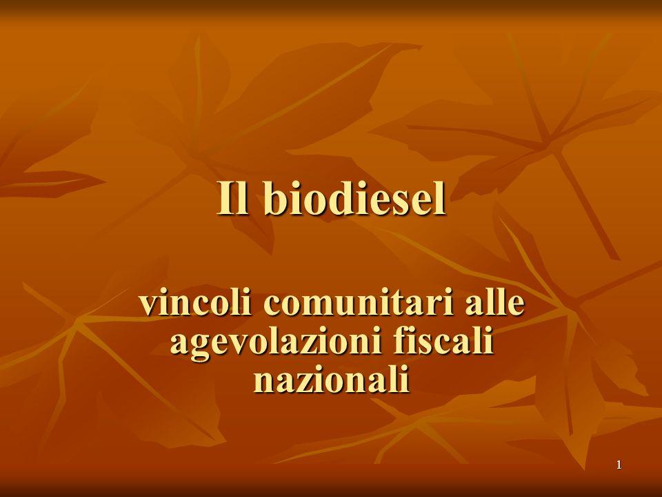 1 Il biodiesel vincoli comunitari alle agevolazioni fiscali nazionali