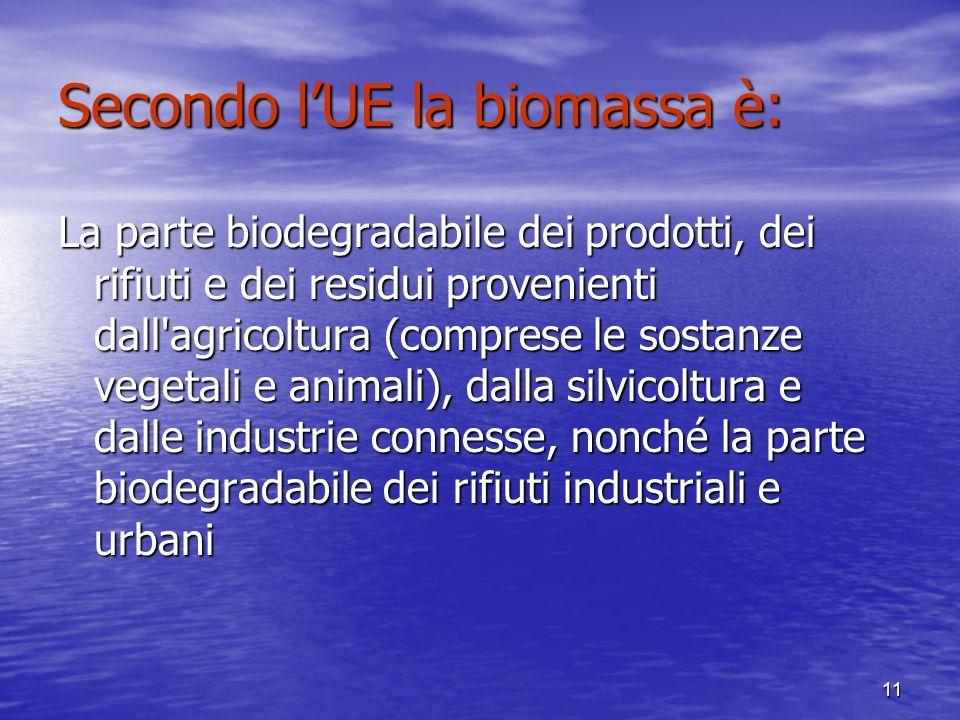11 Secondo lUE la biomassa è: La parte biodegradabile dei prodotti, dei rifiuti e dei residui provenienti dall agricoltura (comprese le sostanze vegetali e animali), dalla silvicoltura e dalle industrie connesse, nonché la parte biodegradabile dei rifiuti industriali e urbani
