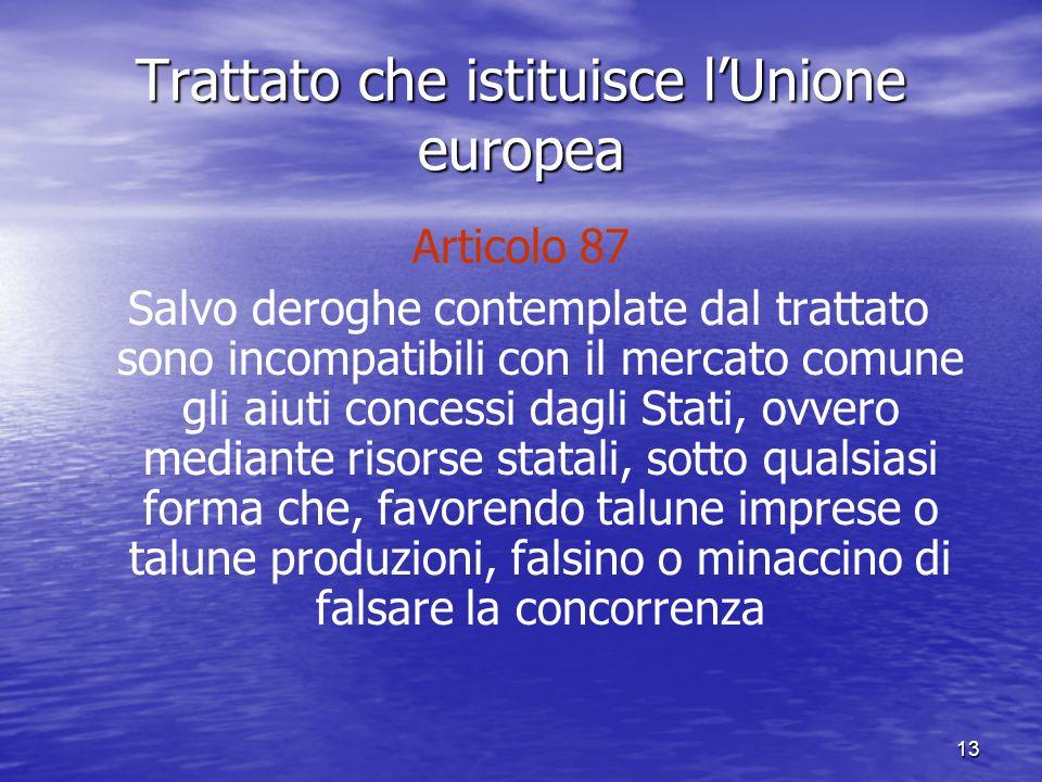 13 Trattato che istituisce lUnione europea Articolo 87 Salvo deroghe contemplate dal trattato sono incompatibili con il mercato comune gli aiuti concessi dagli Stati, ovvero mediante risorse statali, sotto qualsiasi forma che, favorendo talune imprese o talune produzioni, falsino o minaccino di falsare la concorrenza