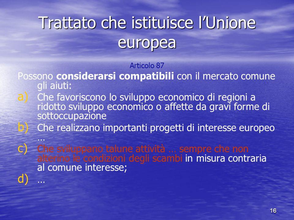 17 Articolo 88 La Commissione procede con gli Stati membri all esame permanente dei regimi di aiuti esistenti in questi Stati.
