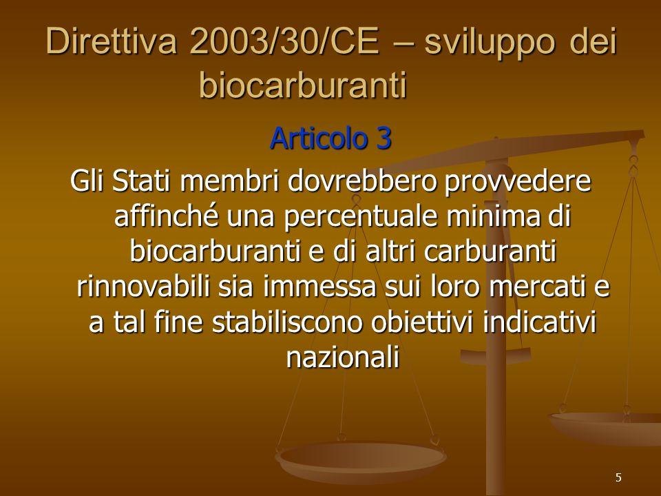 5 Direttiva 2003/30/CE – sviluppo dei biocarburanti Articolo 3 Gli Stati membri dovrebbero provvedere affinché una percentuale minima di biocarburanti e di altri carburanti rinnovabili sia immessa sui loro mercati e a tal fine stabiliscono obiettivi indicativi nazionali