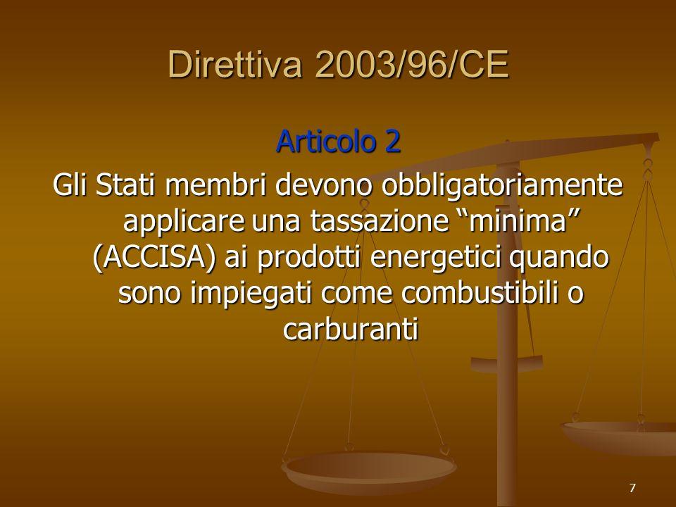 7 Direttiva 2003/96/CE Articolo 2 Gli Stati membri devono obbligatoriamente applicare una tassazione minima (ACCISA) ai prodotti energetici quando sono impiegati come combustibili o carburanti