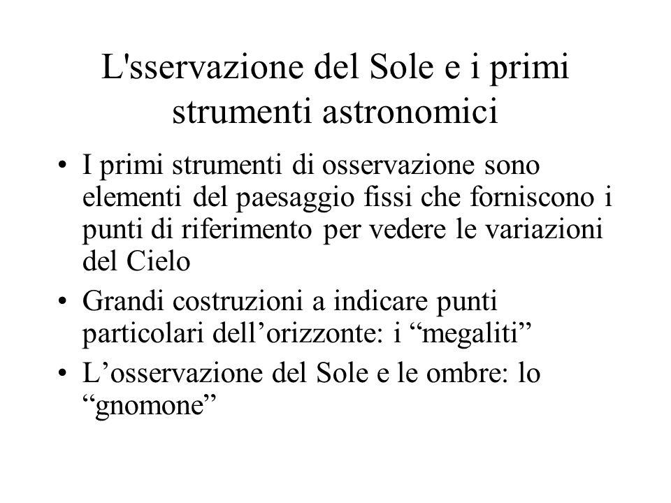 L'sservazione del Sole e i primi strumenti astronomici I primi strumenti di osservazione sono elementi del paesaggio fissi che forniscono i punti di r