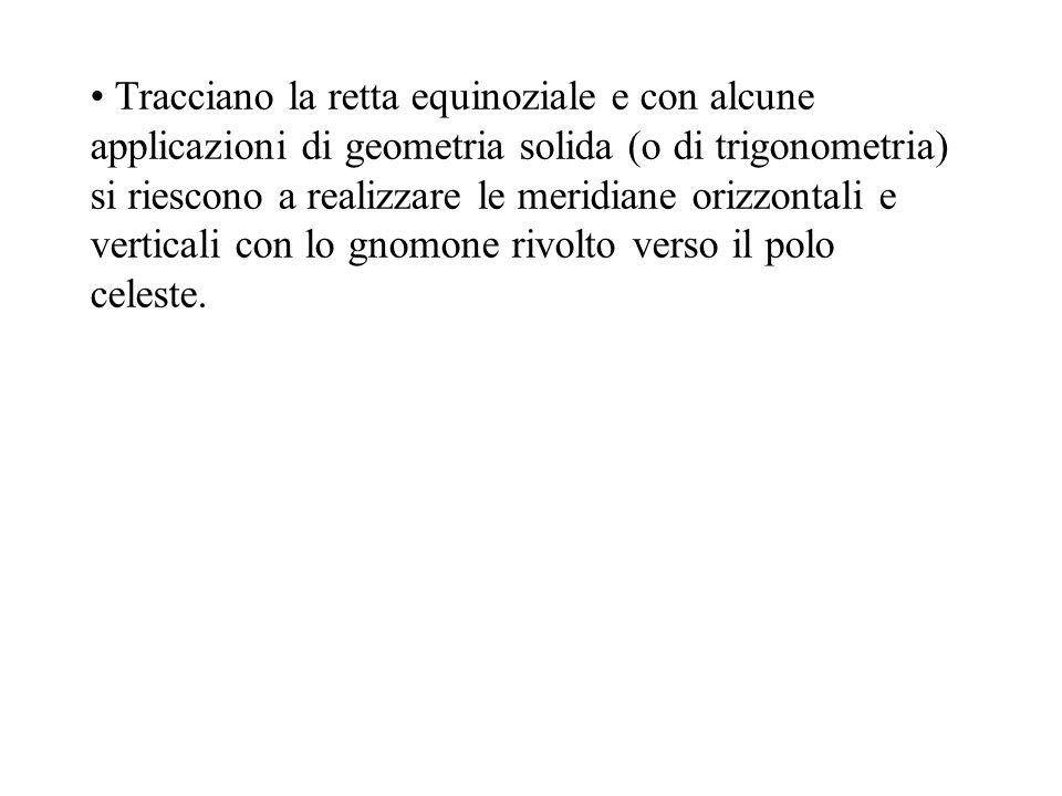 Tracciano la retta equinoziale e con alcune applicazioni di geometria solida (o di trigonometria) si riescono a realizzare le meridiane orizzontali e