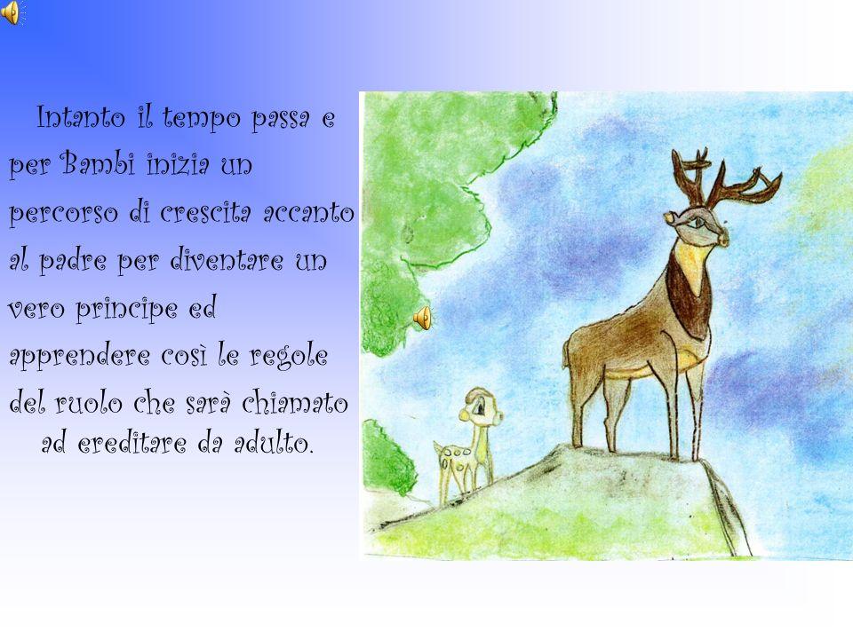 Intanto il tempo passa e per Bambi inizia un percorso di crescita accanto al padre per diventare un vero principe ed apprendere così le regole del ruo