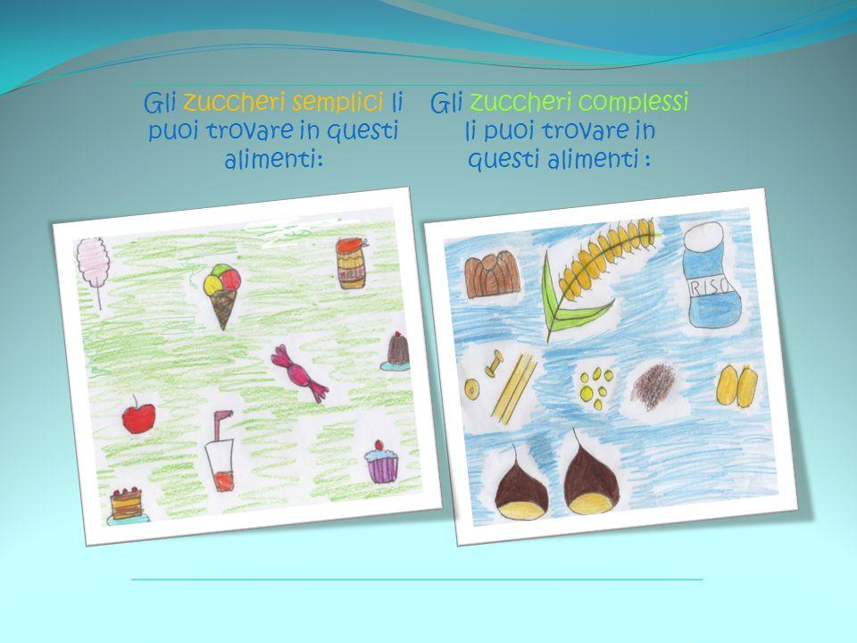 Gli zuccheri semplici li puoi trovare in questi alimenti: Gli zuccheri complessi li puoi trovare in questi alimenti :