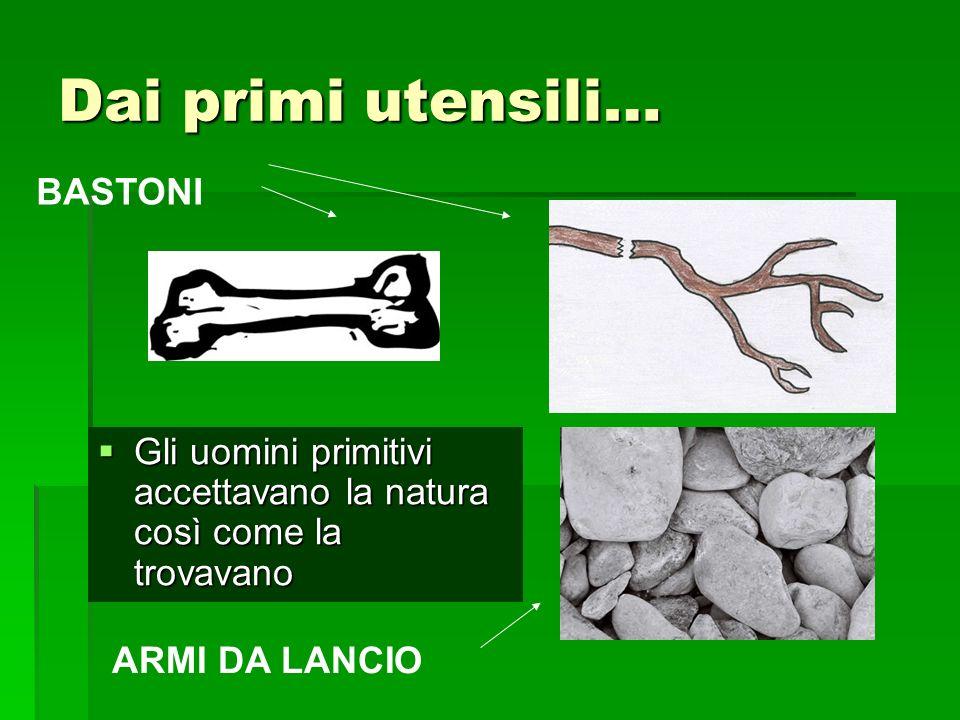 Dai primi utensili… Gli uomini primitivi accettavano la natura così come la trovavano Gli uomini primitivi accettavano la natura così come la trovavano BASTONI ARMI DA LANCIO