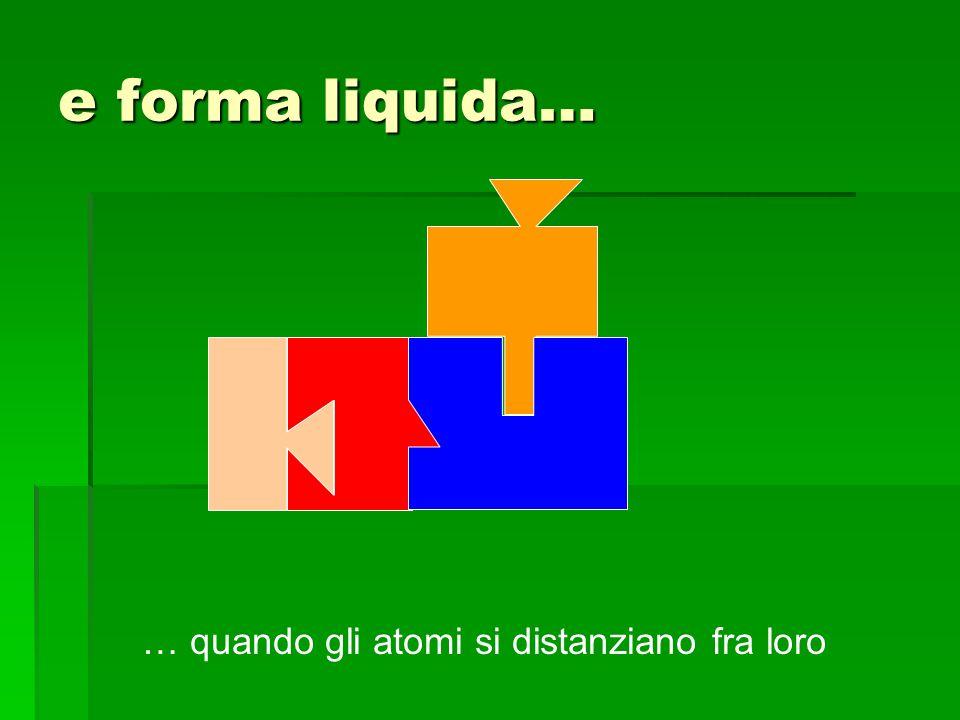 e forma liquida… … quando gli atomi si distanziano fra loro