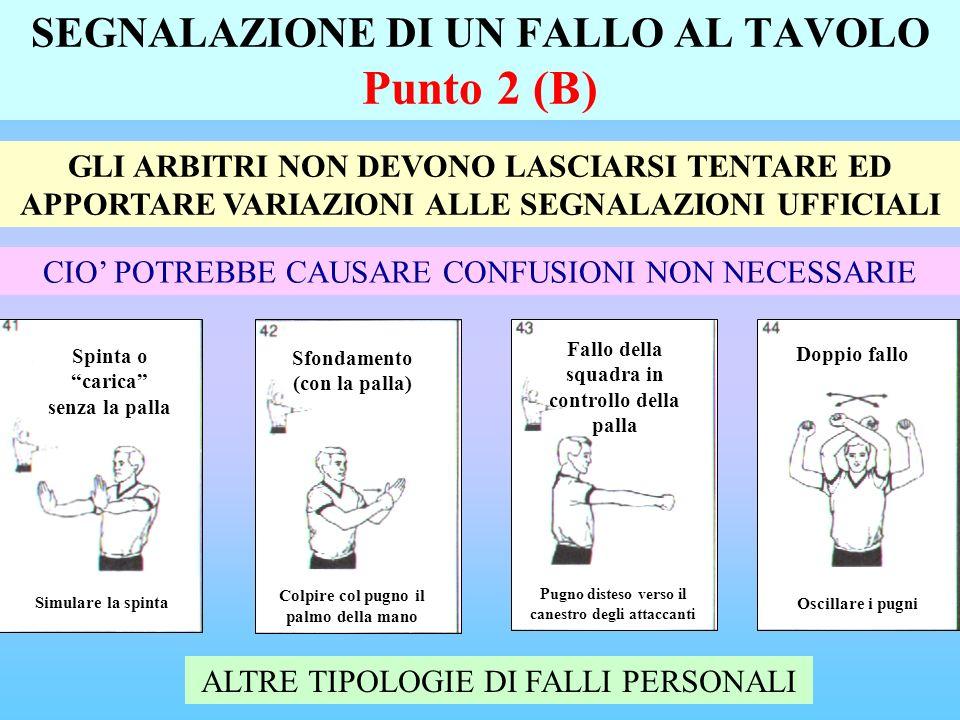 SEGNALAZIONE DI UN FALLO AL TAVOLO Punto 2 (B) GLI ARBITRI NON DEVONO LASCIARSI TENTARE ED APPORTARE VARIAZIONI ALLE SEGNALAZIONI UFFICIALI CIO POTREBBE CAUSARE CONFUSIONI NON NECESSARIE ALTRE TIPOLOGIE DI FALLI PERSONALI Simulare la spinta Spinta o carica senza la palla Colpire col pugno il palmo della mano Sfondamento (con la palla) Pugno disteso verso il canestro degli attaccanti Fallo della squadra in controllo della palla Oscillare i pugni Doppio fallo