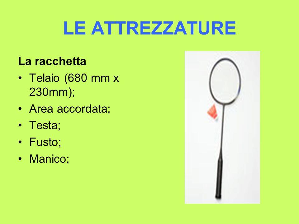 LE ATTREZZATURE La racchetta Telaio (680 mm x 230mm); Area accordata; Testa; Fusto; Manico;