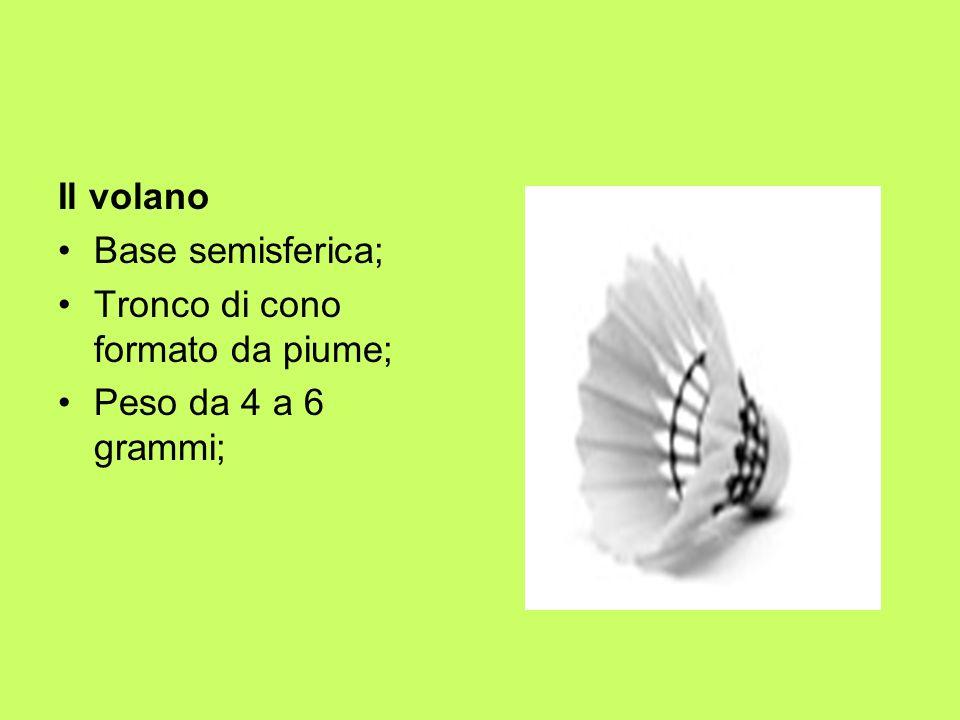 Il volano Base semisferica; Tronco di cono formato da piume; Peso da 4 a 6 grammi;