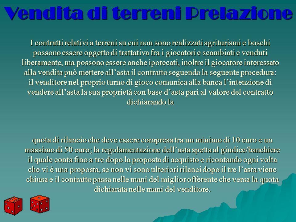 I contratti relativi a terreni su cui non sono realizzati agriturismi e boschi possono essere oggetto di trattativa fra i giocatori e scambiati e vend