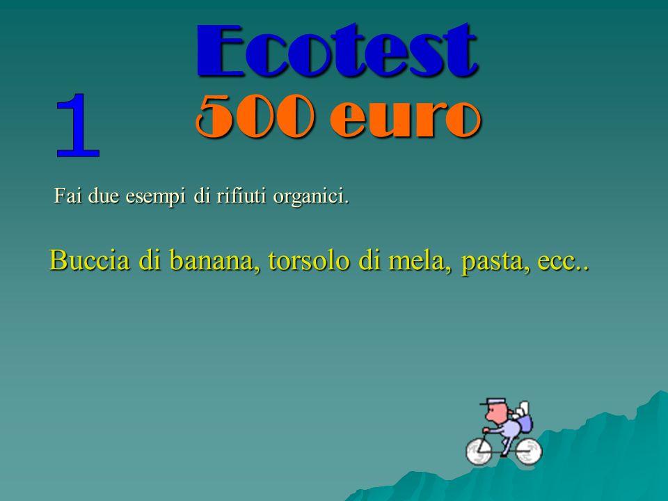 Fai due esempi di rifiuti organici. Buccia di banana, torsolo di mela, pasta, ecc.. Ecotest 500 euro