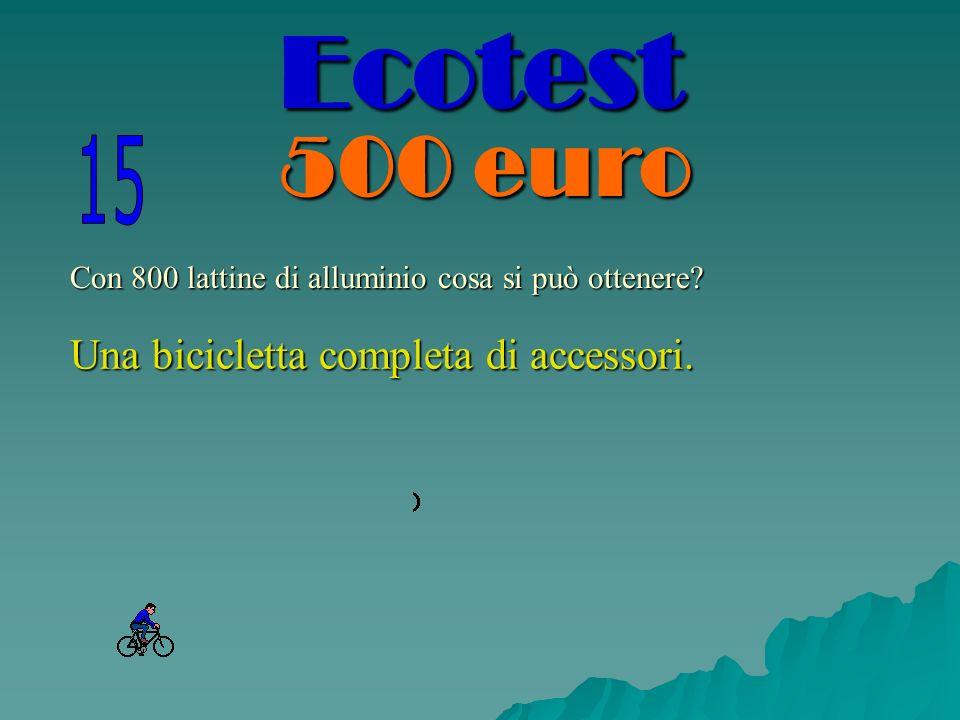 Con 800 lattine di alluminio cosa si può ottenere? Una bicicletta completa di accessori. Ecotest