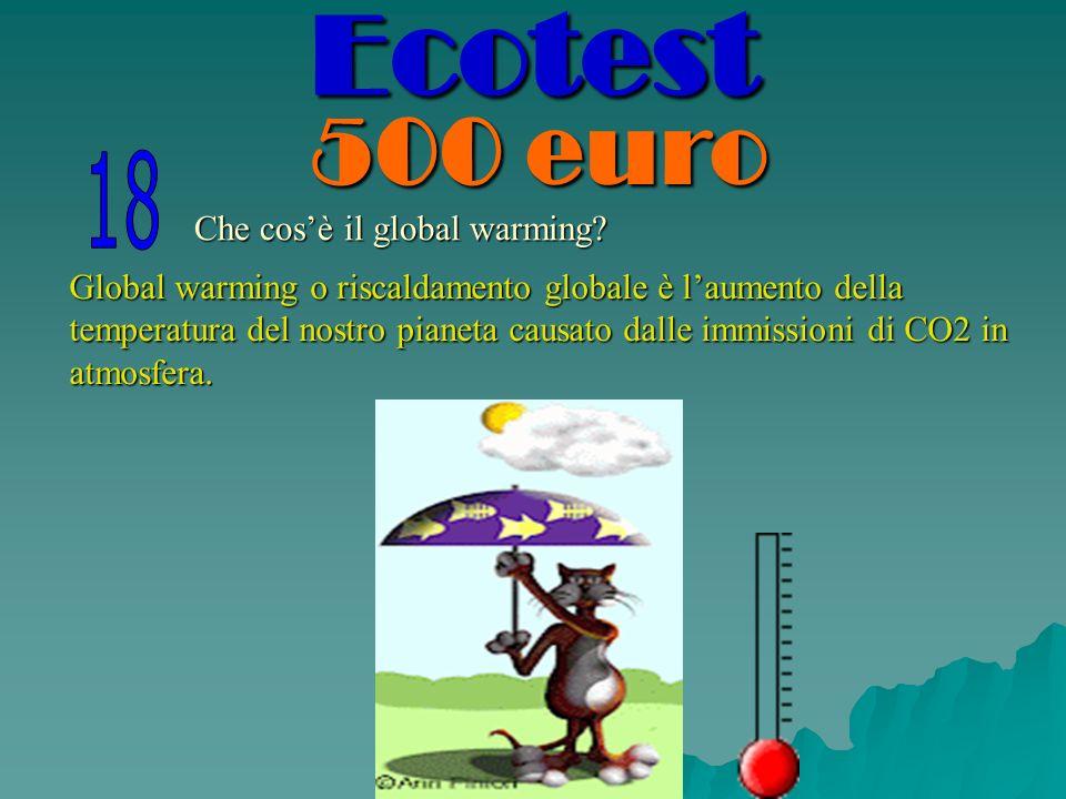 Che cosè il global warming? Global warming o riscaldamento globale è laumento della temperatura del nostro pianeta causato dalle immissioni di CO2 in