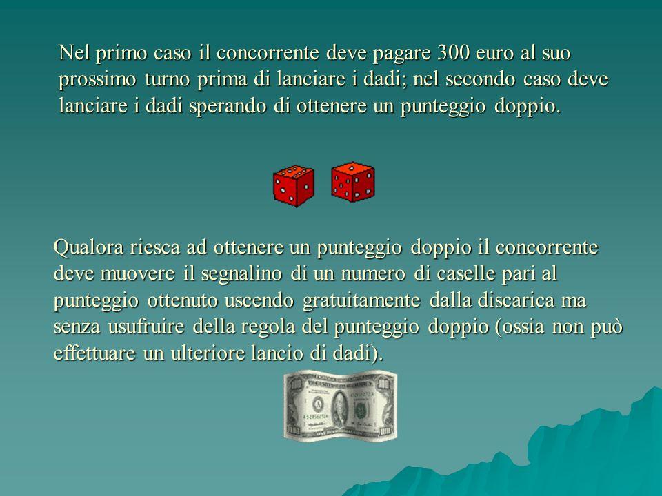 Nel primo caso il concorrente deve pagare 300 euro al suo prossimo turno prima di lanciare i dadi; nel secondo caso deve lanciare i dadi sperando di o