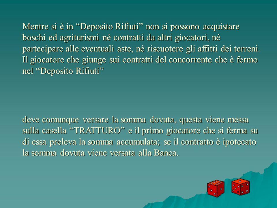 Mentre si è in Deposito Rifiuti non si possono acquistare boschi ed agriturismi né contratti da altri giocatori, né partecipare alle eventuali aste, né riscuotere gli affitti dei terreni.