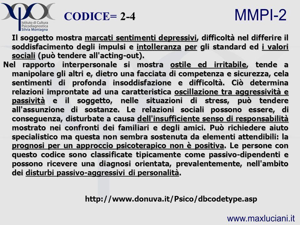 CODICE= 2-4 http://www.donuva.it/Psico/dbcodetype.asp Il soggetto mostra marcati sentimenti depressivi, difficoltà nel differire il soddisfacimento de