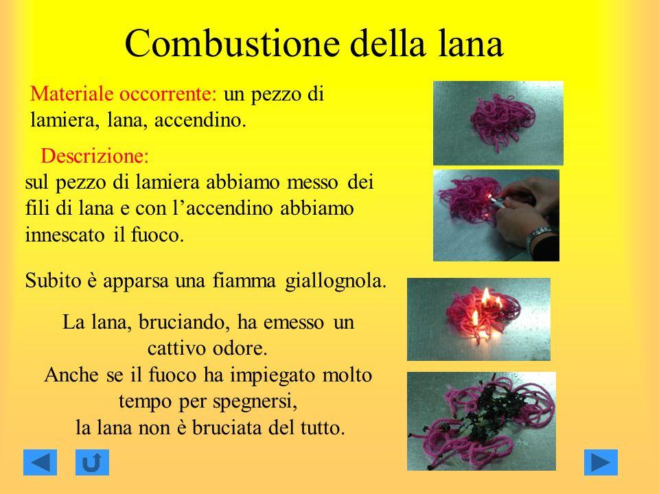 Combustione della lana Materiale occorrente: un pezzo di lamiera, lana, accendino.
