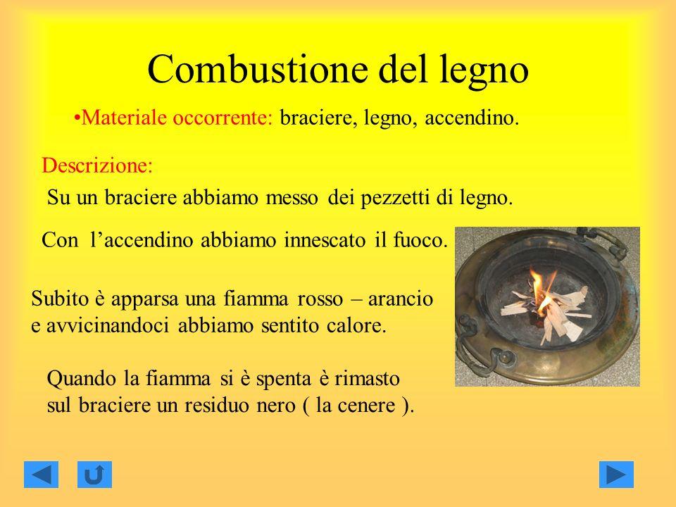 Combustione del legno Materiale occorrente: braciere, legno, accendino.