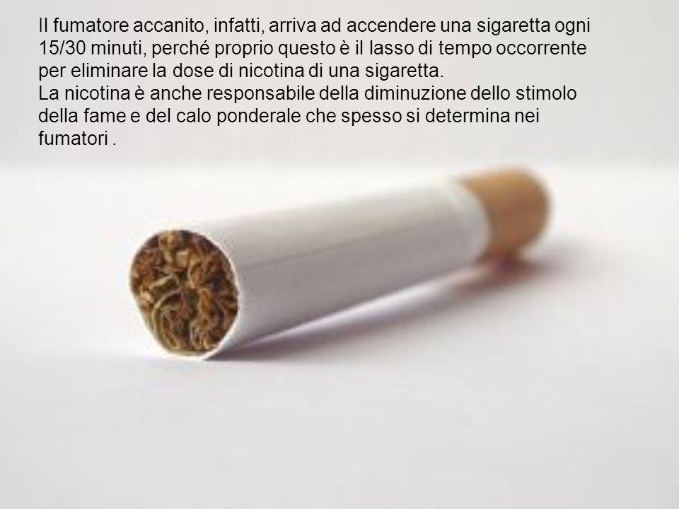Il fumatore accanito, infatti, arriva ad accendere una sigaretta ogni 15/30 minuti, perché proprio questo è il lasso di tempo occorrente per eliminare