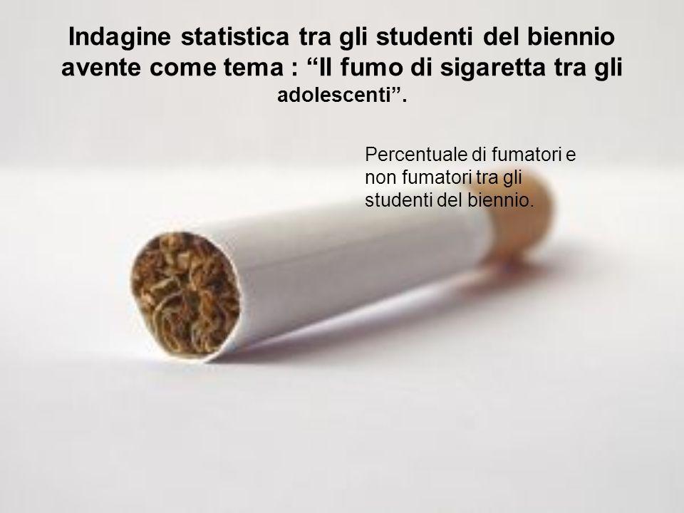 Indagine statistica tra gli studenti del biennio avente come tema : Il fumo di sigaretta tra gli adolescenti. Percentuale di fumatori e non fumatori t