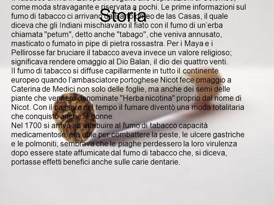 Storia Il Tabacco arriva in Europa in seguito alle esplorazioni di Colombo, come moda stravagante e riservata a pochi. Le prime informazioni sul fumo