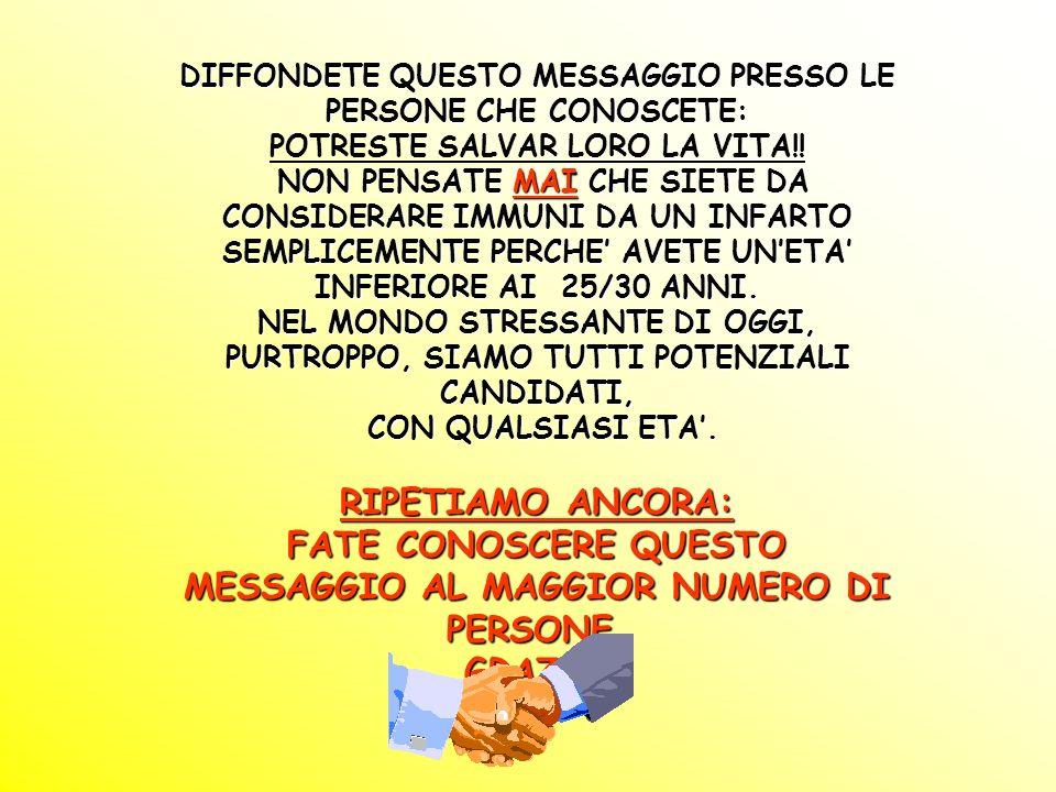 DIFFONDETE QUESTO MESSAGGIO PRESSO LE PERSONE CHE CONOSCETE: POTRESTE SALVAR LORO LA VITA!.
