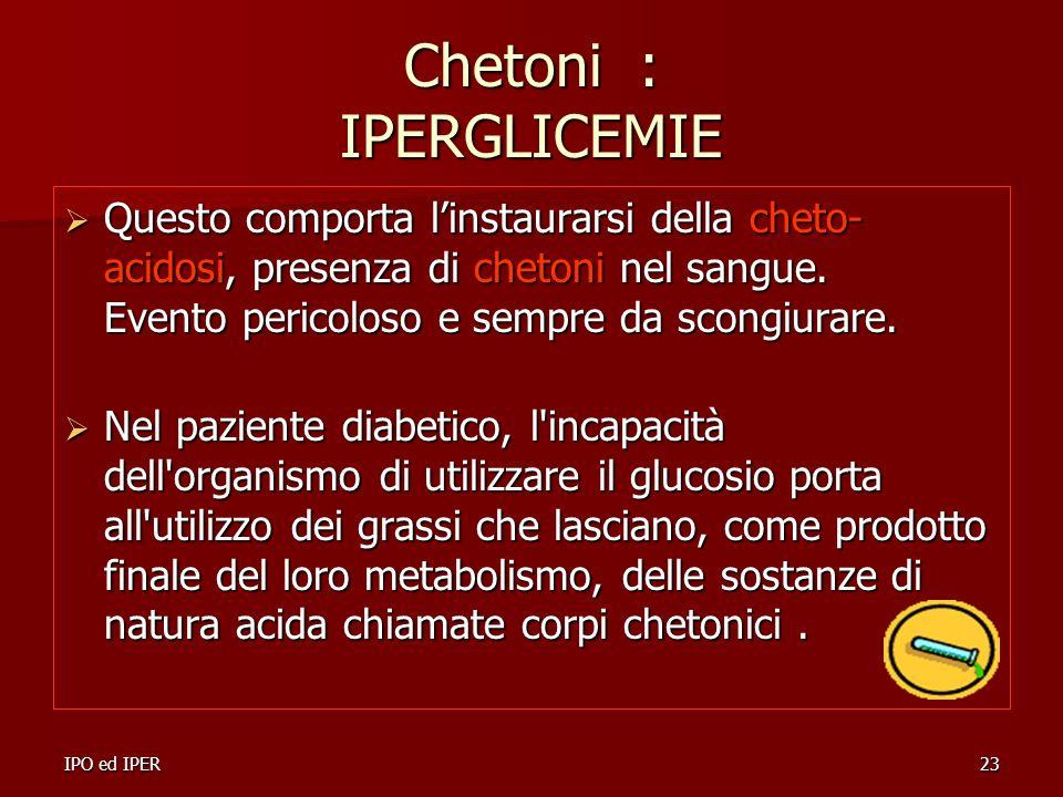 IPO ed IPER23 Chetoni : IPERGLICEMIE Questo comporta linstaurarsi della cheto- acidosi, presenza di chetoni nel sangue. Evento pericoloso e sempre da