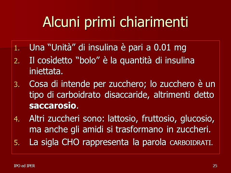 IPO ed IPER25 Alcuni primi chiarimenti 1. Una Unità di insulina è pari a 0.01 mg 2. Il cosìdetto bolo è la quantità di insulina iniettata. 3. Cosa di