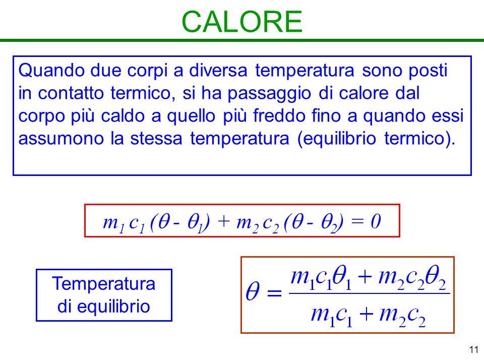 11 CALORE Quando due corpi a diversa temperatura sono posti in contatto termico, si ha passaggio di calore dal corpo più caldo a quello più freddo fino a quando essi assumono la stessa temperatura (equilibrio termico).